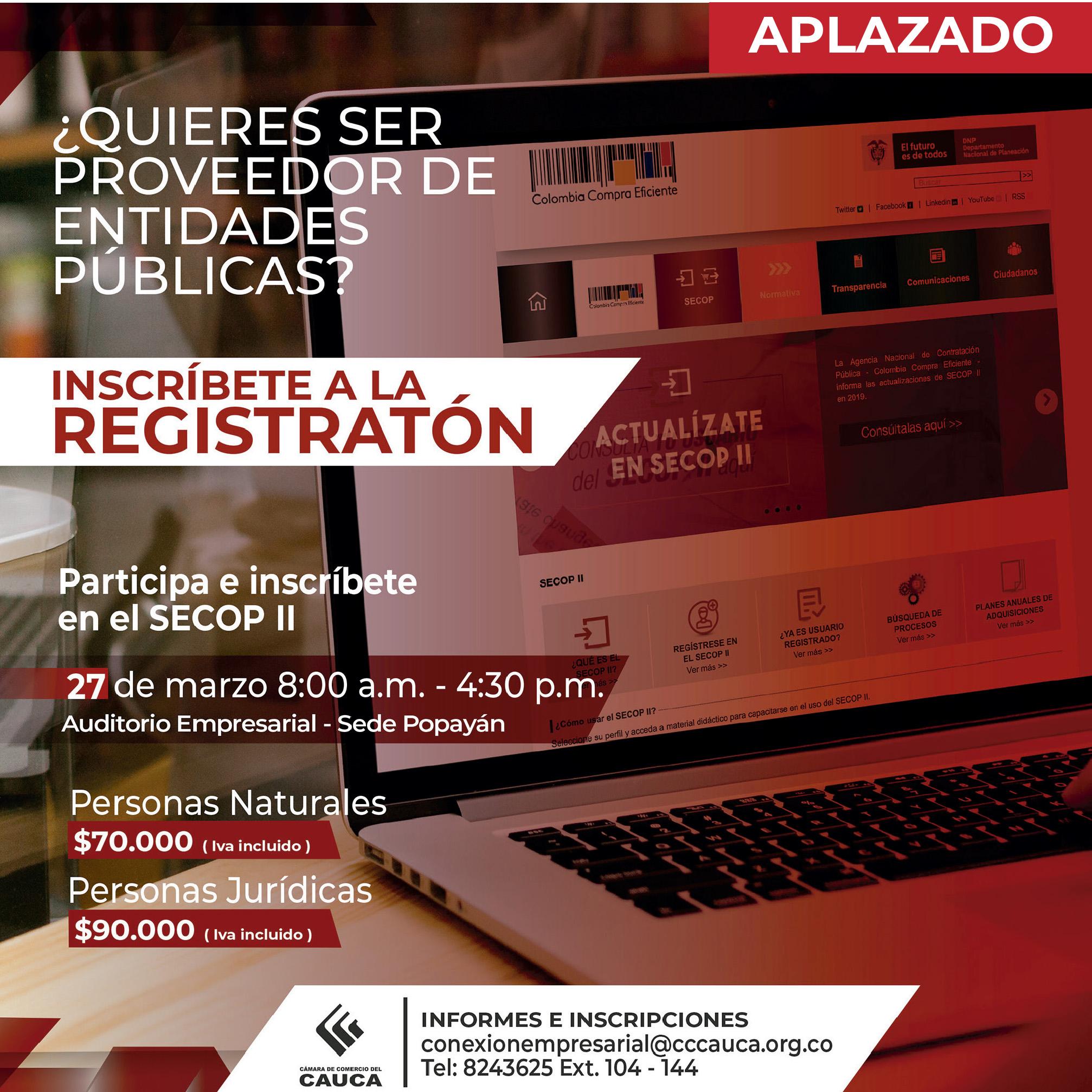 Inscripciones abiertas a la Registratón del Secop - Popayán