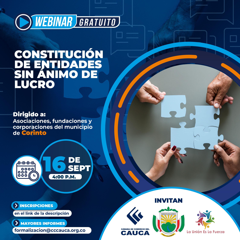 Webinar Constitución de Entidades sin Animo de Lucro - Corinto