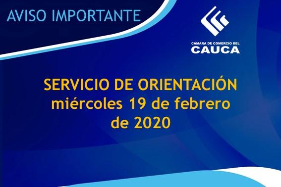 Aviso Importante | Servicio de Orientación martes 18 de febrero de 2020