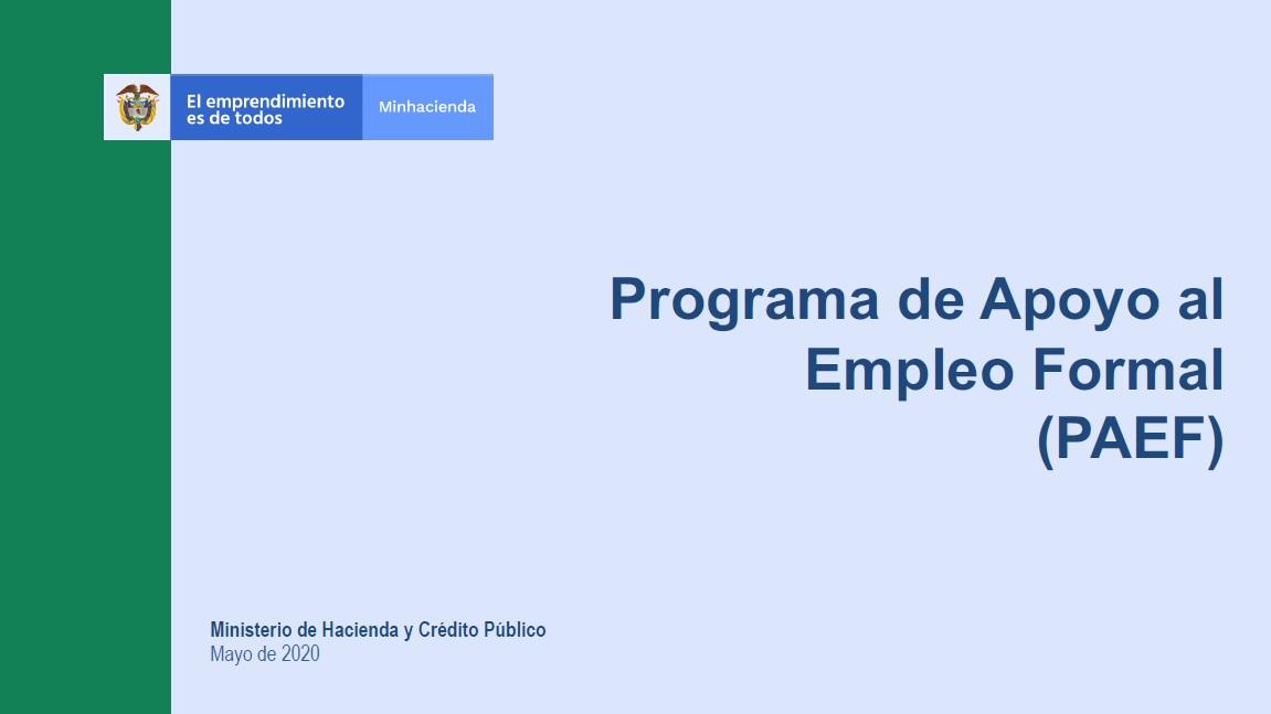 Programa de Apoyo al Empleo Formal (PAEF)