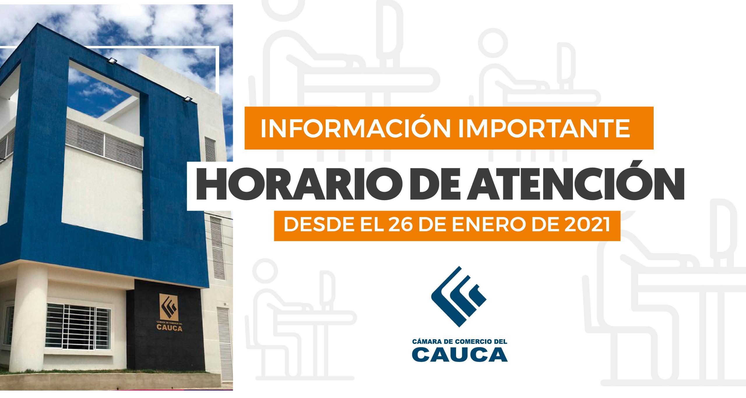 Aviso Importante | Horarios de Atención a partir del 28 de enero en nuestras sedes de Popayán y Seccionales Norte y Sur