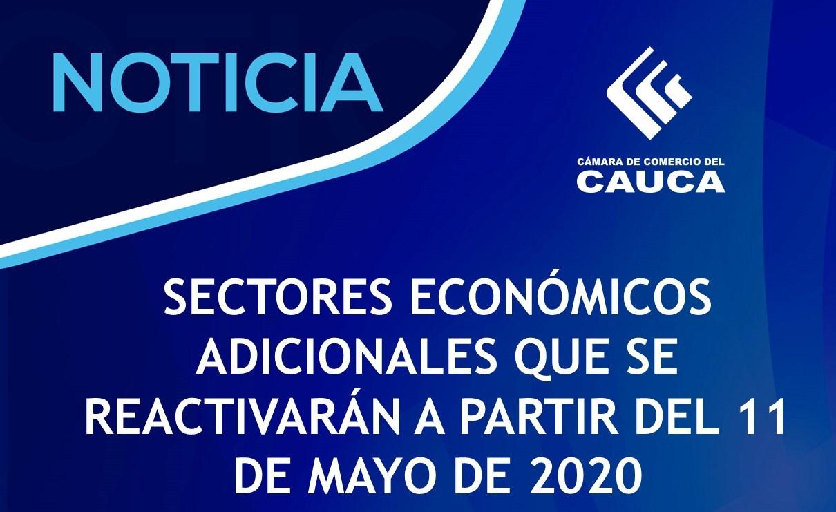 Sectores económicos adicionales que se Reactivarán a partir del 11 de mayo de 2020