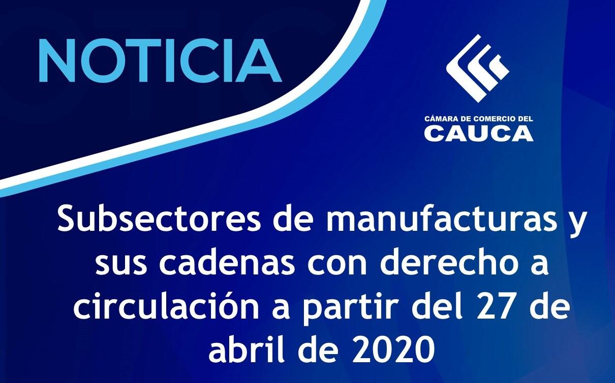 Subsectores de manufacturas y sus cadenas con derecho a circulación a partir del 27 de abril de 2020