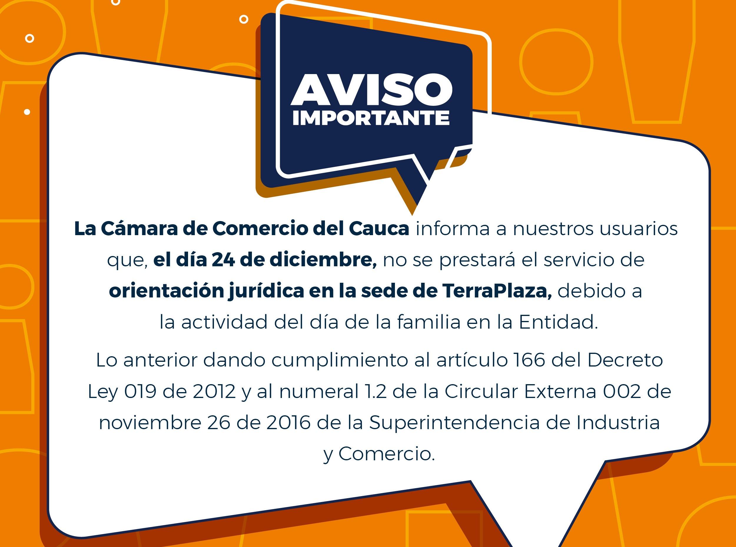 Aviso Importante - Orientación Jurídica Centro Comercial TerraPlaza 24 de diciembre 2020