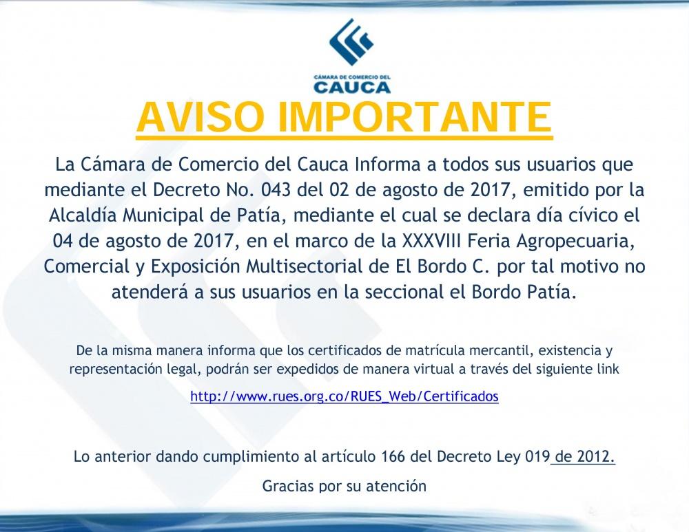 Aviso Importante: Día cívico El Bordo - Patía   Cámara de Comercio ...