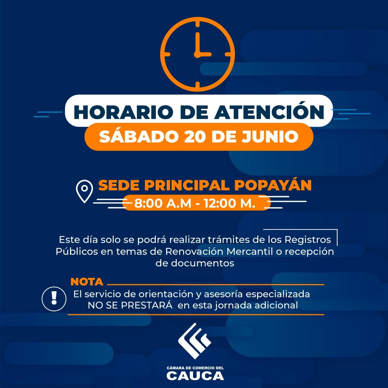 Aviso Importante | Horarios de Atención sábado 20 de junio de 2020