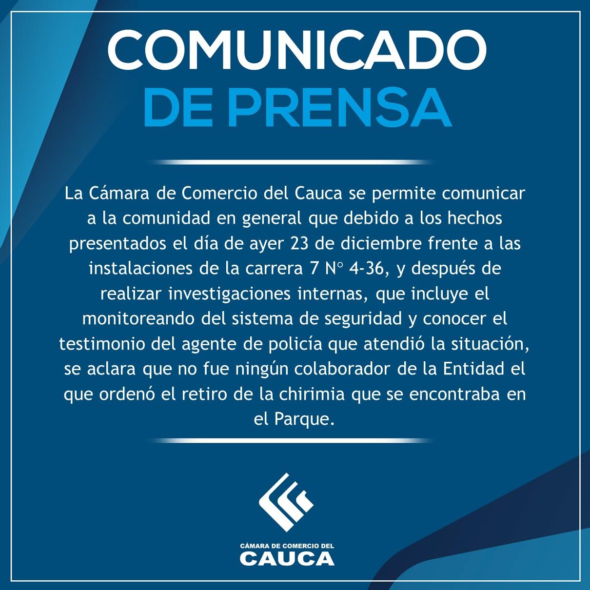 Comunicado de Prensa diciembre 24 de 2019