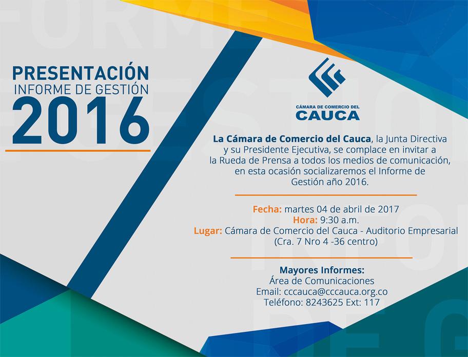Rueda De Prensa Presentación Informe De Gestión 2016