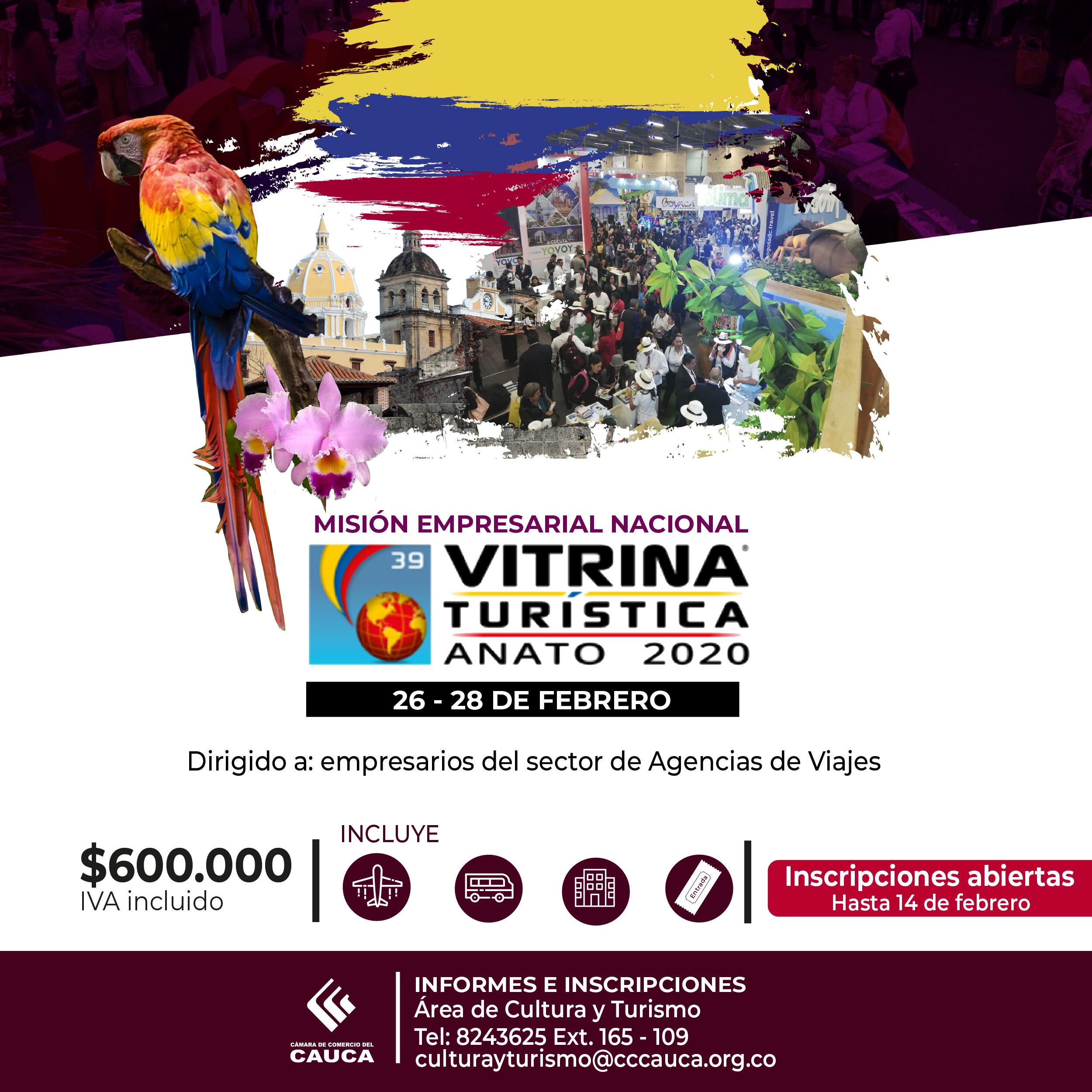 Inscripciones abiertas a la Misión Empresarial Nacional – Vitrina Turística ANATO 2020