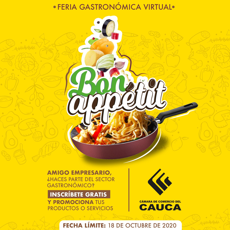 """Inscripciones abiertas para Feria Gastronómica Virtual """"Bon Appétit"""" Norte de Cauca"""