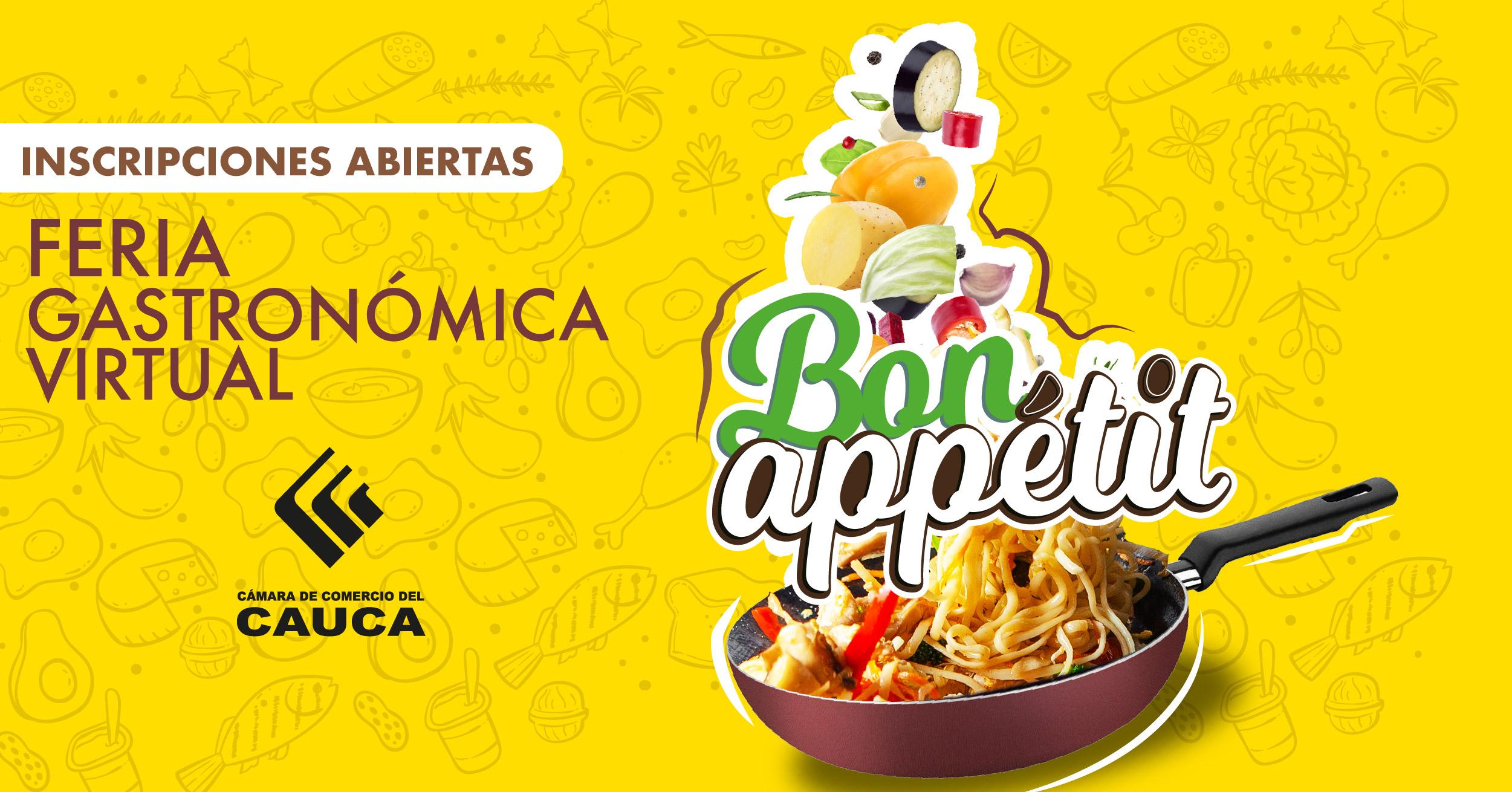 """Inscripciones abiertas para Feria Gastronómica Virtual """"Bon Appétit"""" Norte del Cauca"""