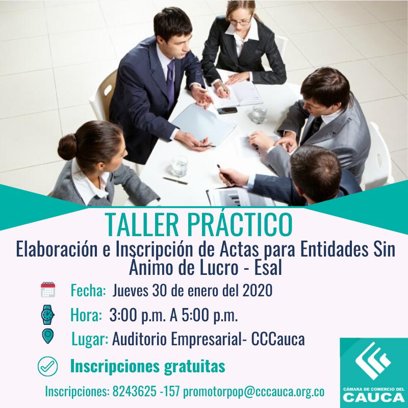 Taller Práctico: Elaboración e Inscripción de Actas para Entidades Sin Ánimo de Lucro. - Popayán